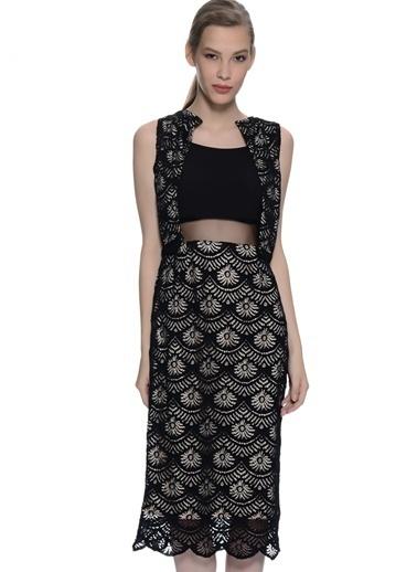 Gırl In Mınd İp Askılı Dar Midi Elbise Siyah